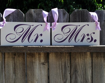 Mr and Mrs Chair Sign Wedding Chair Hangers Custom Photo Props Violet Wedding