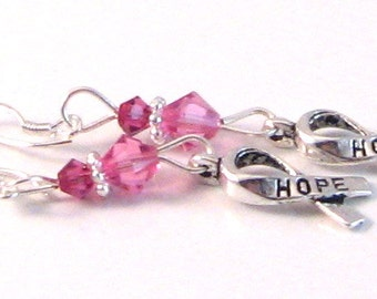 """Rose Pink Swarovski Crystals & Hope Ribbon """"Breast Cancer Awareness"""" Dangle Earrings, BCA Style 8, Pink Jewelry, Pink Earrings"""