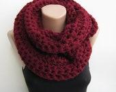 Chunky scarf, marsala crochet infinity scarf,burgundy,gray,ivory,purple choose your color