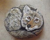 Coyote painted rock