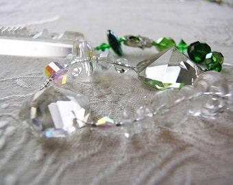 Green beaded Suncatcher, repurposed vintage chandelier crystal, rainbow maker, good energy  'Chi-Swirler'