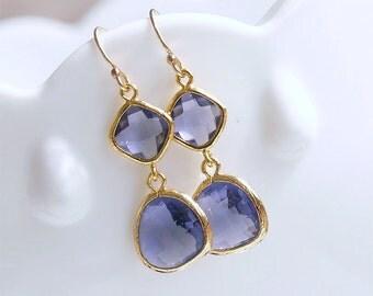 Tanzanite Purple and Gold Dangle Earrings - Dainty Purple Dangles on Gold Filled Earwire - Freesia Purple - Bridesmaid Earrings