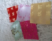 Set of five (5) Silk effect Chinese Fabric Squares