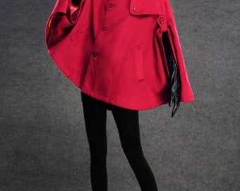 Red cape, red cloak, winter coat, cape coat, wool cape, womens coats, maxi coat, womens capes, cape jacket, custom cape, winter fashion C135