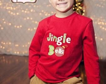 Christmas Applique Bodysuit or Shirt - Jingle Bells Applique Shirt -