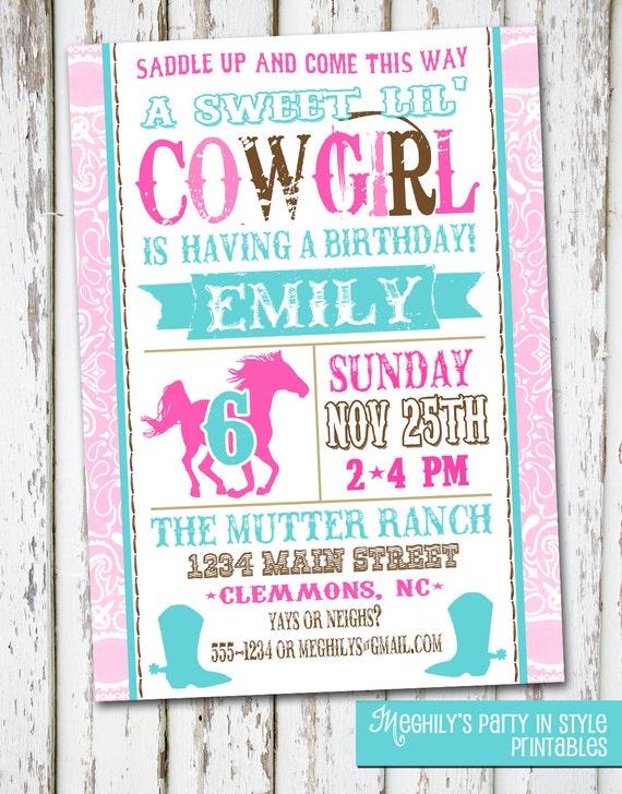 Western Cowgirl Birthday Invitation – Cowgirl Birthday Invitation