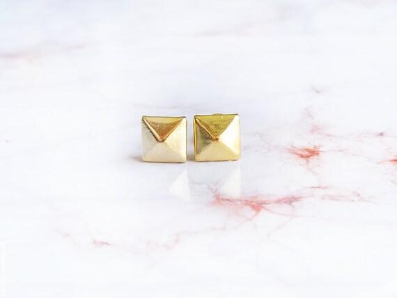 Tiny Pyramid Gold Earring Studs