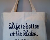 Lake House Cotton Canvas Tote embroidery custom add your favorite Lake Choose Your tote and thread color