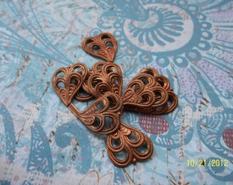3 Vintage Red Brass Foldover  Double Heart Filigree Stamping   ...  B - 4