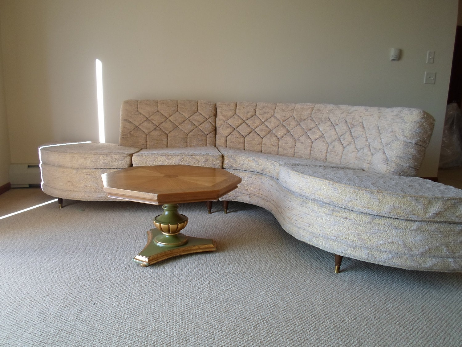 Mid Century Modern Upholstered Two Piece Sectional Sofa