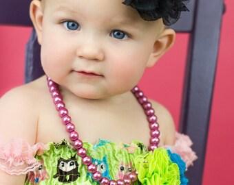Black Baby Headband, Infant Headband, Newborn Headband - Black Headband  Frayed Chiffon and Lace Flower Headband