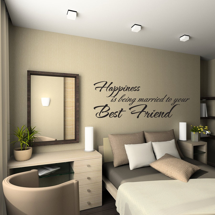 Happiness Is Being Married To Your Best Friend Wall Quote Marilyn Monroe Bedroom