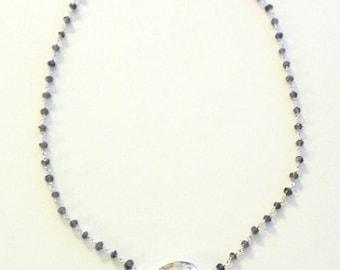 Iolite Necklace, Quartz Pendant, Rosary Necklace, Rosary Chain, Rosary Style Necklace, Gemstone Necklace, Gemstone Jewelry, Layered Necklace