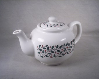 Christmas Teapot Ceramic Tea Pot Holiday Holly Red Green