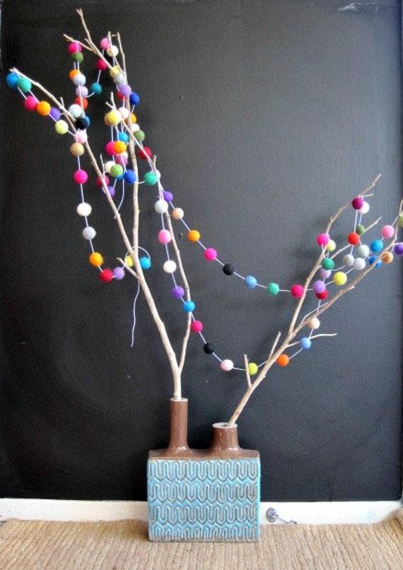 Felt Ball Garland Party Decoration Photobooth Wedding Decor - 100 Felt balls, 5 metres