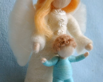 Special itemWaldorf inspired needle felted dolls : 2 Guardian Angel ,girl and Boy ( made to order)