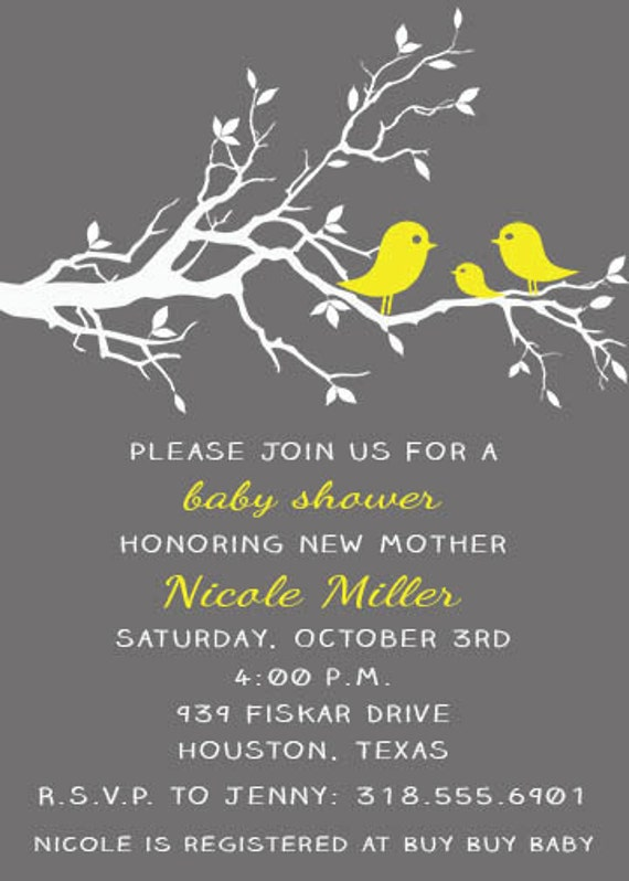 ... Birds Birdie - Baby Shower, Bridal Shower, Gender Reveal Invitation