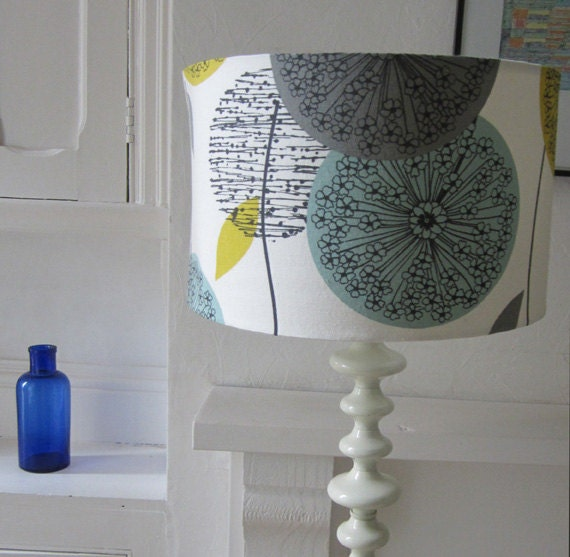 Retro Style Teal and Yellow, Plant Structured Design 35cm Diameter Drum Lampshade - Suitable For UK & European Light Fittings