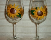 Hand Painted Sunflower Wine Glass (One Glass)