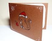 Cat Christmas Card - holiday card, cat in Santa hat, ornament, snowflakes, greeting card