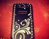 Samsung Galaxy S3 SIII Black & White Elegant Swirl Rhinestone Bling case