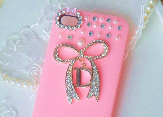 iPhone 4 and iPhone 4S Designer Sweet Pink Bow Pearl and Rhinestones Bling case