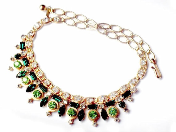 RESERVED Rare VOLUPTE' Necklace Vintage Art Deco Green Rhinestone Modern High Fashion 1950s Collectable Jewelry Emerald Peridot Green