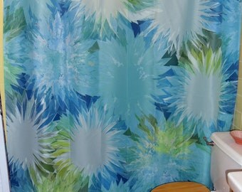 "Shower Curtain - ""Tropical Tuberous Blooms"" 70""x74"" (eyelets are not standard size)"