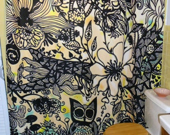 "Shower Curtain / Wall art - ""Drawn Jungle""  70""x74"" (eyelets are not standard size)"
