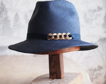Maxime-Navy blue panama straw fedora with french grosgrain ribbon and brass chain