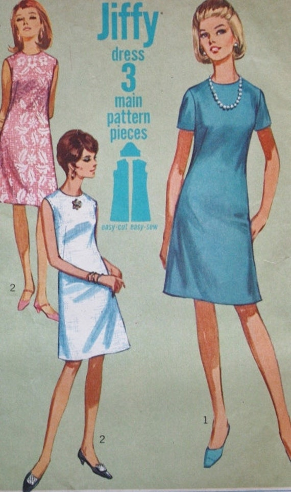 1960s Twiggy Mod Mini Dress Bust 34 Simplicity 7072 Vintage Sewing Pattern