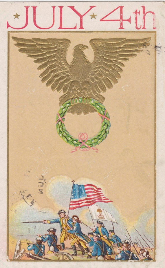 JULY 4TH HOLIDAY Vintage Embossed and Gilded Postcard, Used & Stamped, 1910s, j. Marks