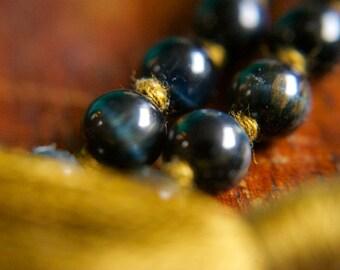 108 Mala Beads Blue Tigers Eye Mala Tassel Necklace Japa Meditation Knotted Gemstone Prayer Beads Yoga Jewelry Spiritual Crystal Healing