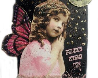 Aceo Card, Fairy Art Card, Original Art Card, Whimsical Assemblage Art, Dream With Me