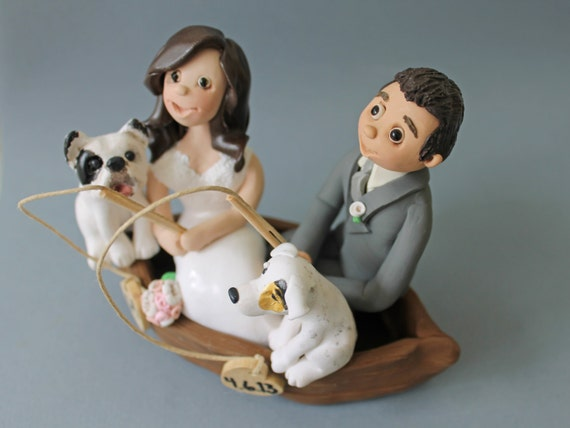 Items Similar To Fishing Couple Clay Cake Toppers Wedding
