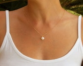 Single pearl necklace, 14k gold bridesmaids necklace, Wedding Necklace, white pearl necklace, wedding, Pearl pendant necklace, June birthday