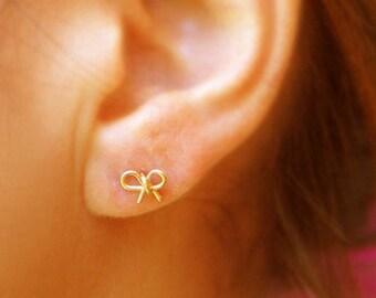 Bow earrings, stud earrings, bow post earrings, bridesmaid earrings, gold stud earrings,gold knot earrings, small earrings, stud