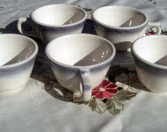 Buffalo China Restaurant Ware Coffee Cups Grey Air Brush Scalloped - Set of 4 (3 Sets Available)