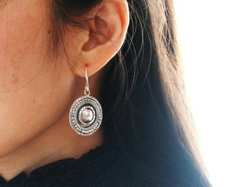 "Unique round silver earrings handmade with layers embossed with different patterns - ""The Ancient Shield """