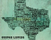 Custom Listing - Gritty Texas Typography Map