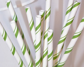 25 GREEN CaNdY Stripe PaRty Straws with printable flags, Party,CanDy CaNe, PePPermInT StiCk , Hot CoCoA, Fun Paper Pixie Candy