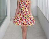 SALE 30%OFF, Pretty mini dress, yellow and orange poppies on a white fabric, Large size - ampidou