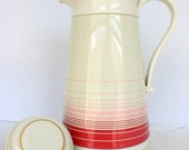 Vintage plastic Phoenix coffee carafe - pink stripes with glass lining