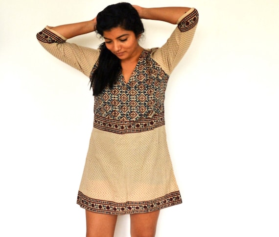 The Maelu Tunic Dress in Liberty - Hand Block Printed, Natural Vegetable Dyes, Cotton