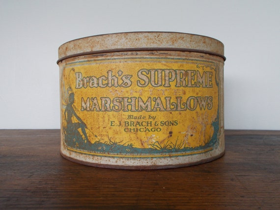 "Vintage Tin ""Brach's Supreme Marshmallows"" 5lbs with Fairy Graphics - CLEARANCE"