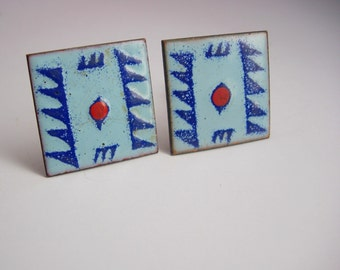 Indian Jewelry Vintage Native American Cufflinks Enamel Blue Red Tribal Copper cuff links artisan jewelry mens womens gift