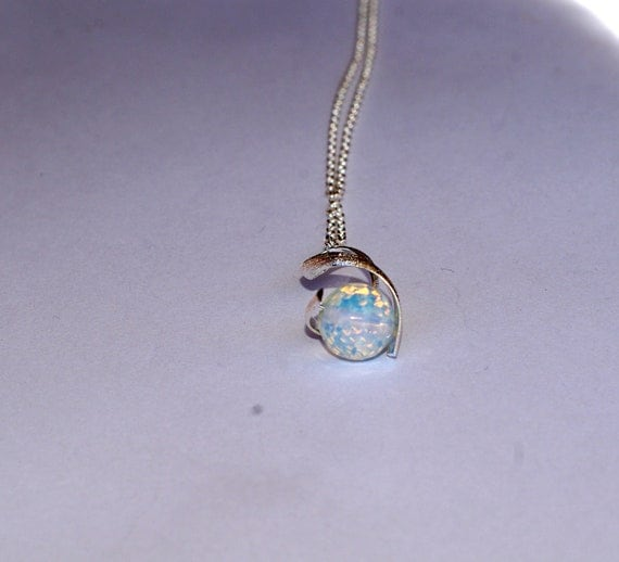 opal pendant opal necklace sterling silver necklace simple