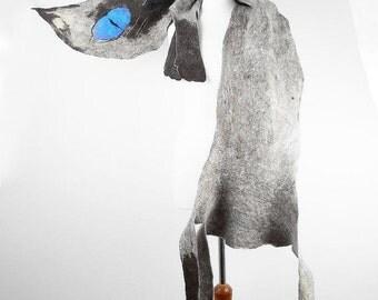 Felted Scarf Cat Scarf Art Shawl SIAM CAT Nuno felt Artistic Scarves Felt  Fairy Wrap grey gray Nuno felt wearable art Silk  Fiber Art