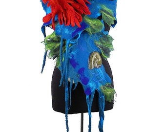 Turquoise Scarf Felted Scarf Nunofelt Scarf WATERWORLD with red Brooch Long Wrap wearable art