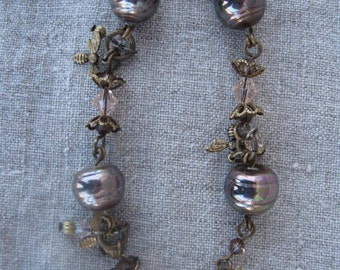 Bohemian Bronze Pearl Bracelet